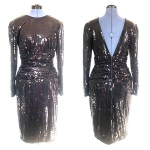 Vintage Sequin Minidress, Black with Open Back